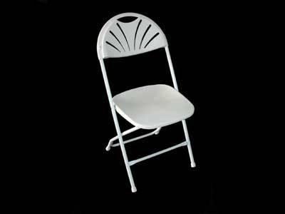White/Black Fan-Back Folding Chair(YOMO-002)