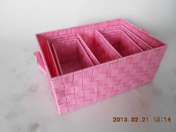 Set of 5 PP strap  baskets with storage