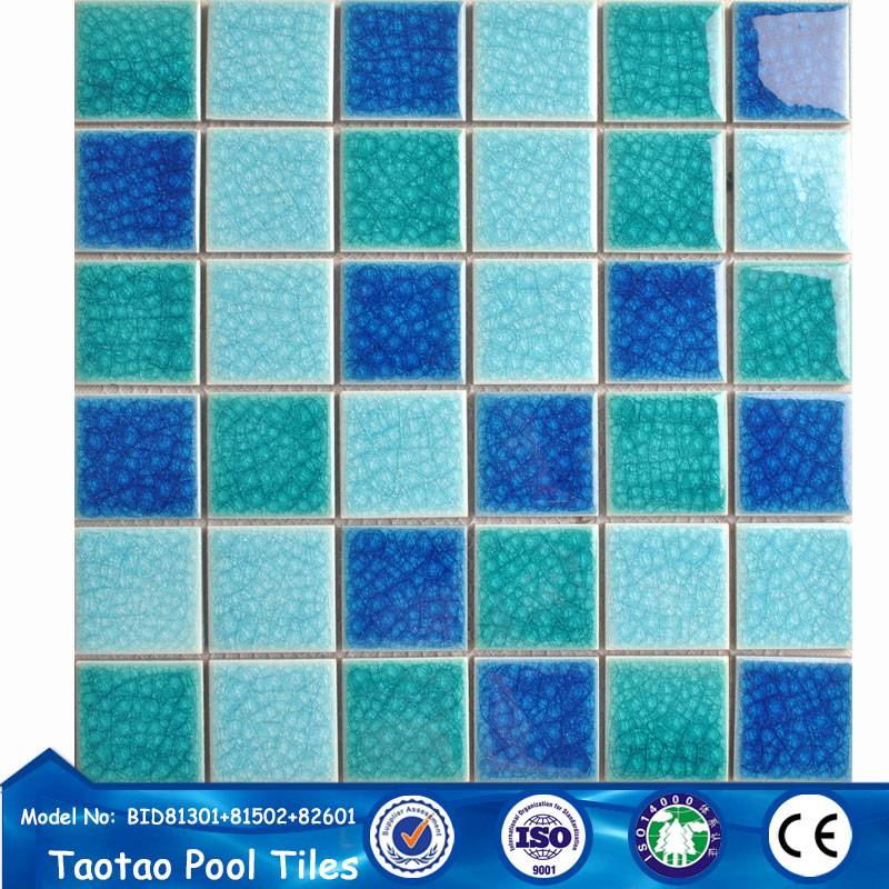 blue mix color ice crack pool mosaic size 48*48mm