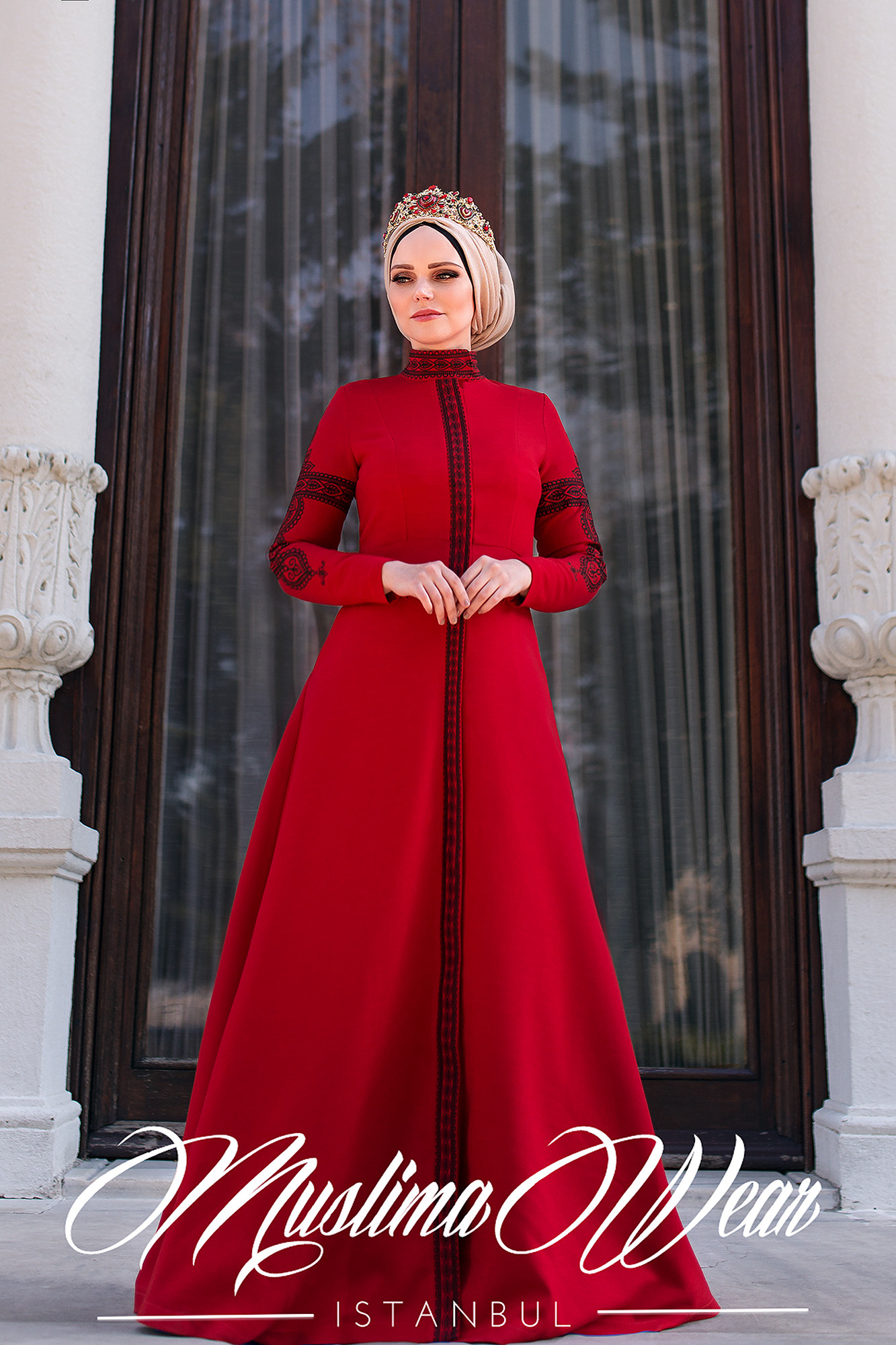 MuslimaWear Mehendi Dress Red
