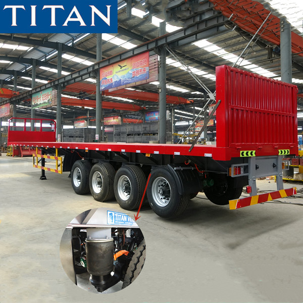 4 axle flatbed trailer with airbag suspension