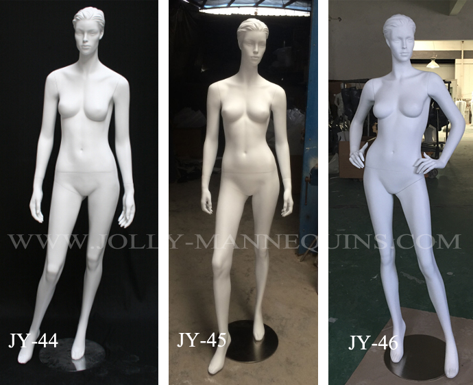 female mannequins with white matte color sculpture hair