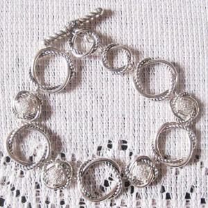Sterling Silver Jewelry Pave CZ Diamonds Links Bracelet (B-076)