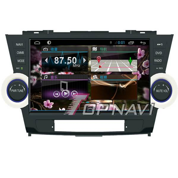 1024*600 10.1inch Android 4.4 Car GPS Player For Toyota Highlander Navigation 3G