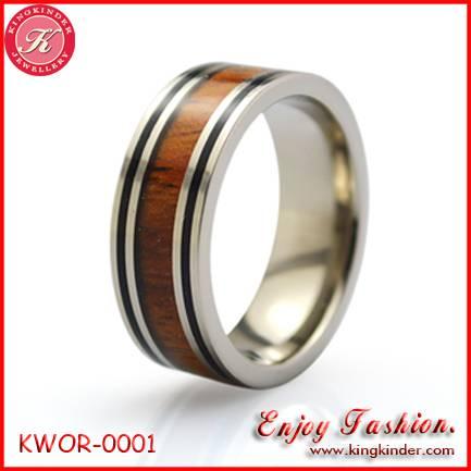 Titanium Wood Ring, Wedding Ring for Couple Ring.