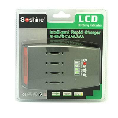 Soshine Ni-MH/Ni-Cd 1-4pcs AAA AA Battery LCD Quick Charger