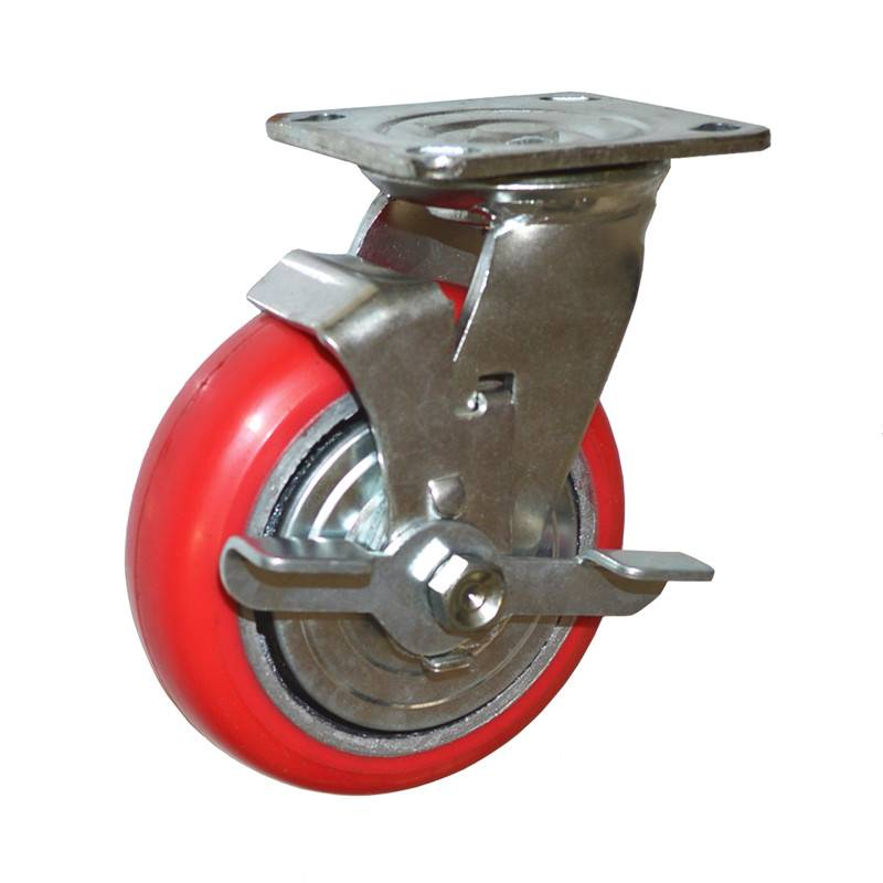 Heavy Duty Caster Wheels With Brake / Industrial  Polyurethane Wheel For Casters