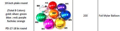 Various Plain & Solid Decoration Foil Mylar Balloons