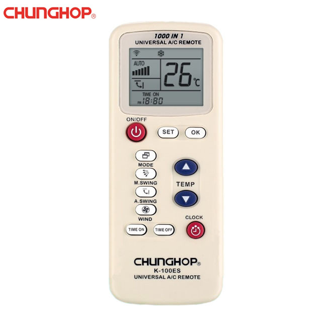 Chunghop K-100ES Universal A/C Remote Control Display Air Conditioner 1000 in 1