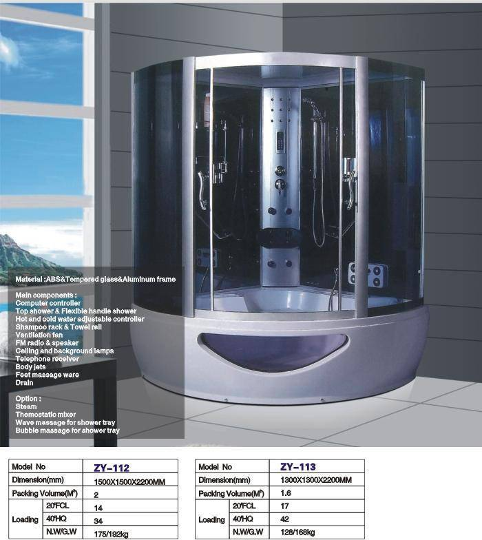 150x150cm luxury steam shower rooms with whirlpool bathtub for two person ZY-112