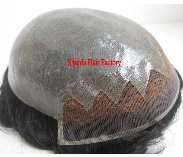 100% Indian Human Hair Skin with Lace base Men's Toupee