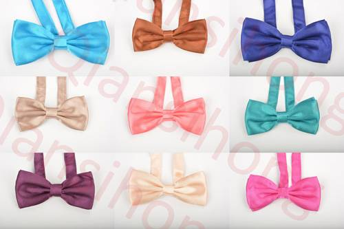 cheap but high quality satin solid bow tie