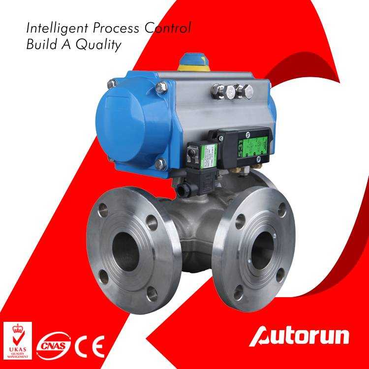 Stainless Steel Flange 3-Way Pneumatic Ball Valve