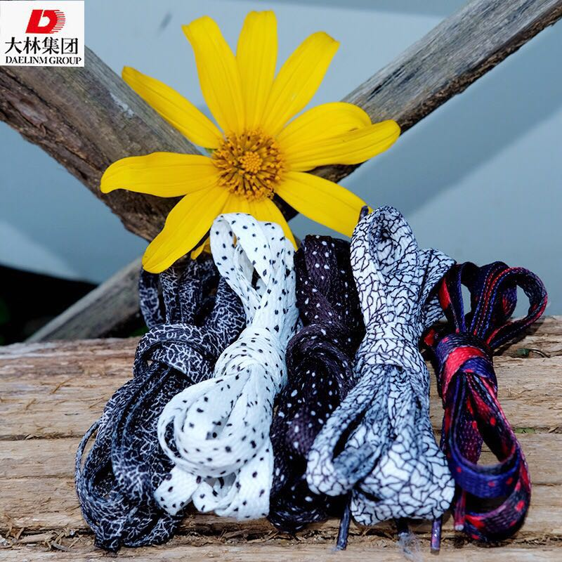 Differentiated printing and dyeing black and white Oreo point black and white burst color shoelaces