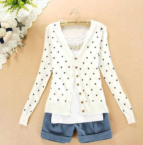 Free Ship spring&autumn women's long sleeve love cardigan Korean design sweet sweaters Thin causal k