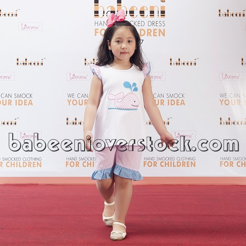 Lovely dolphin applique girl outfit for Spring-summer - BB878