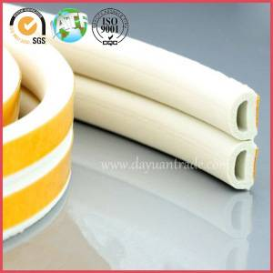 D-shaped EPDM sponge soft foam rubber sound proof sealing strips/wooden door self-adhesive gaskets