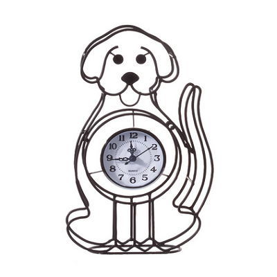Metal Wire Cartoon Dog Design Tabletop Clock