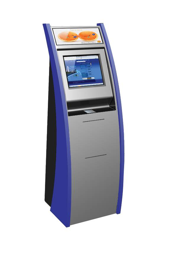 Touchscreen kiosk with inlay metal keyboard and A4 laser printer