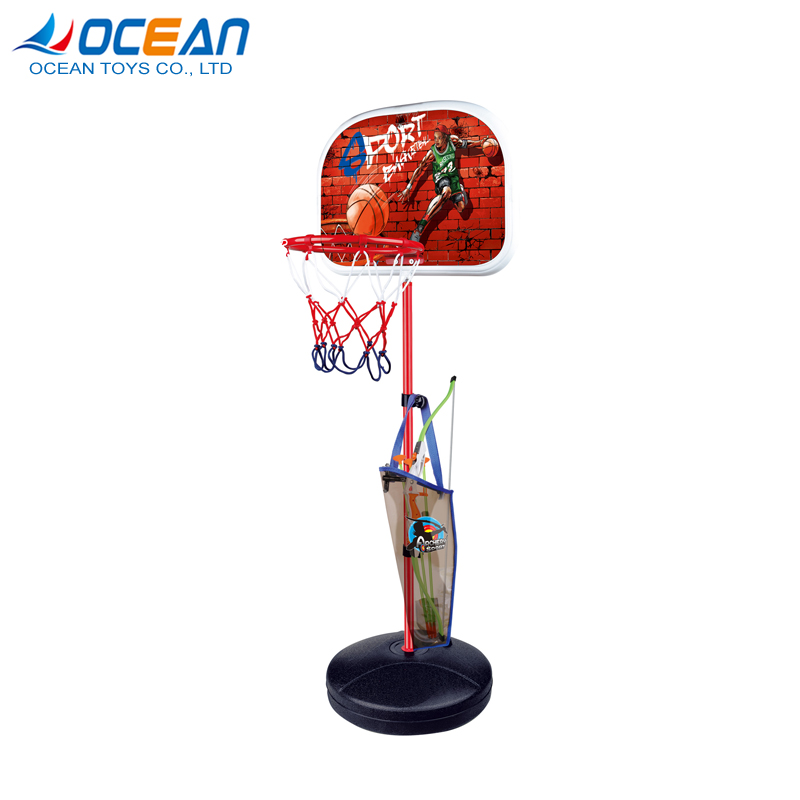 2 in 1 bow and arrow toy portable goal stand kids basketball hoop