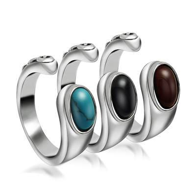Wholesale stainless steel opening rings with stone elegant style