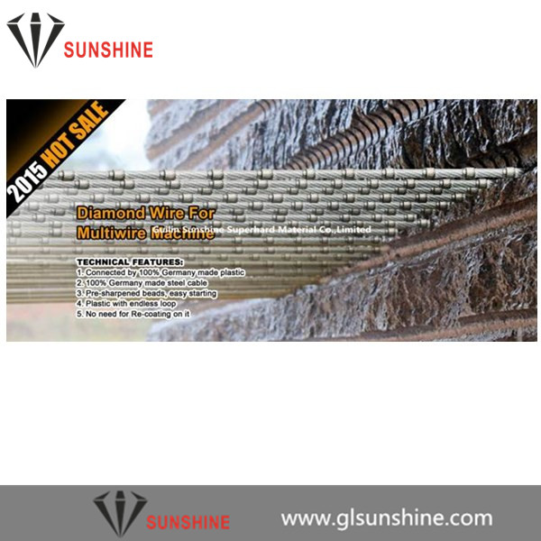 6.4mm 7.3mm 8.3mm plastic diamond wire for multi-wire machine for granite slab cutting