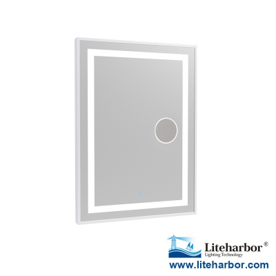 Framed LED Bathroom Mirror with Magnifier
