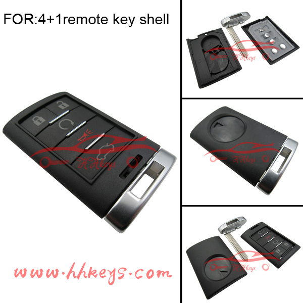 New design 4+1 button smart fob case with Insert Blade keyless for Cadillac