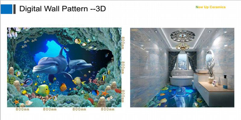 dophin 3D sea world printing pattern, floor and wall decoration tiles