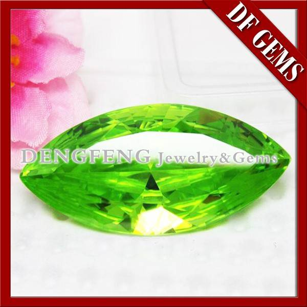 Marquise white and color apple green CZ stone