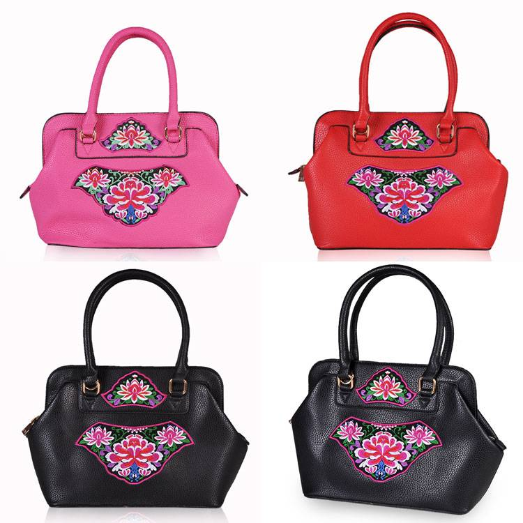 hot sale pu leather enthnic embrodiery woman handbags