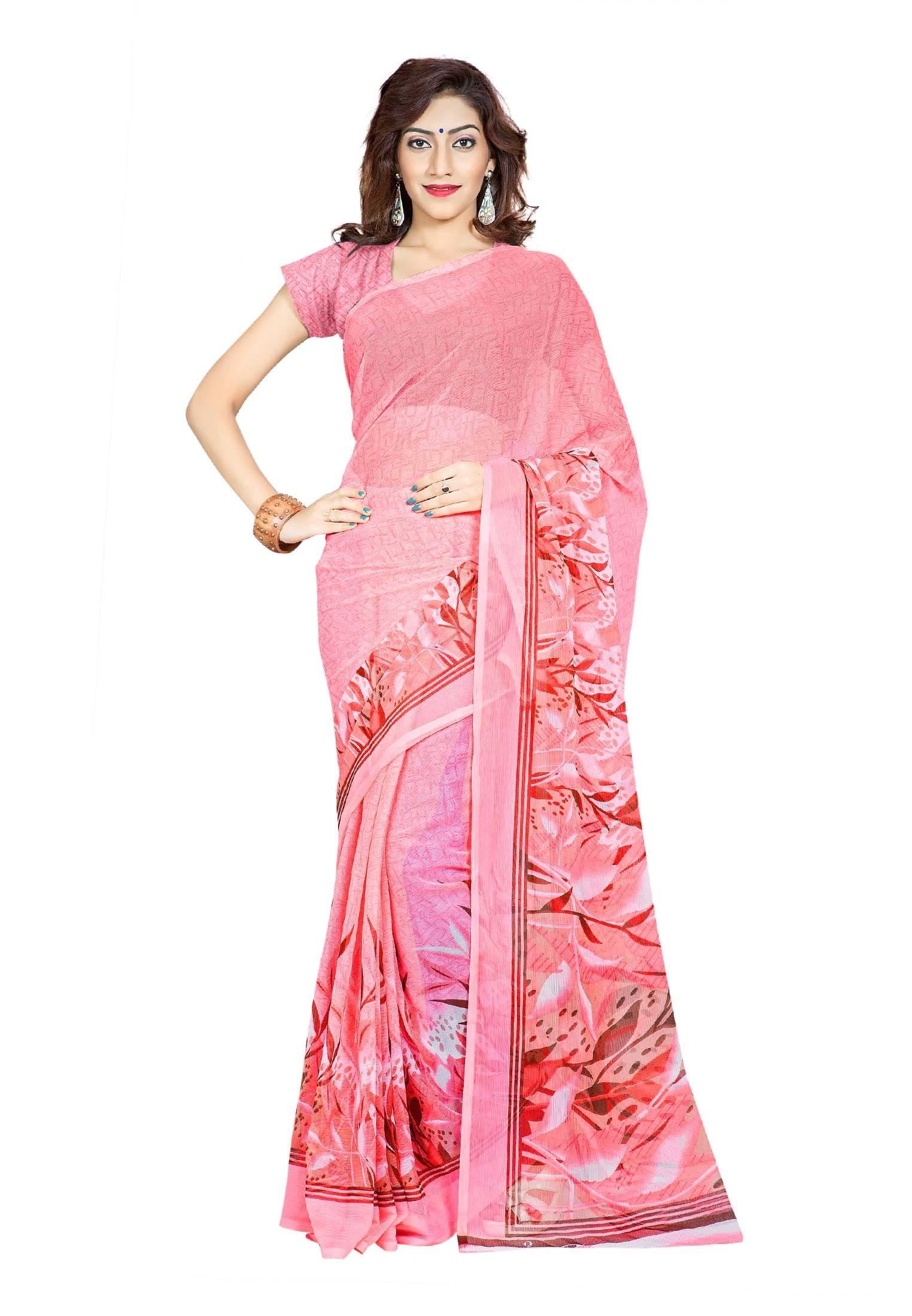 Ambaji Casual Wear Salmon Colored Printed Chiffon Saree/Sari