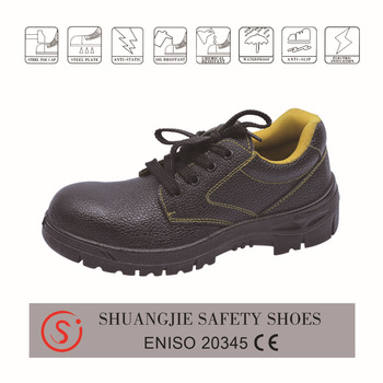 safety work shoes 8072 embossed leather pu outsole