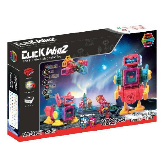 CLICKWHIZ MAGBOT-BASIC 202PCS Educational magnetic block toy