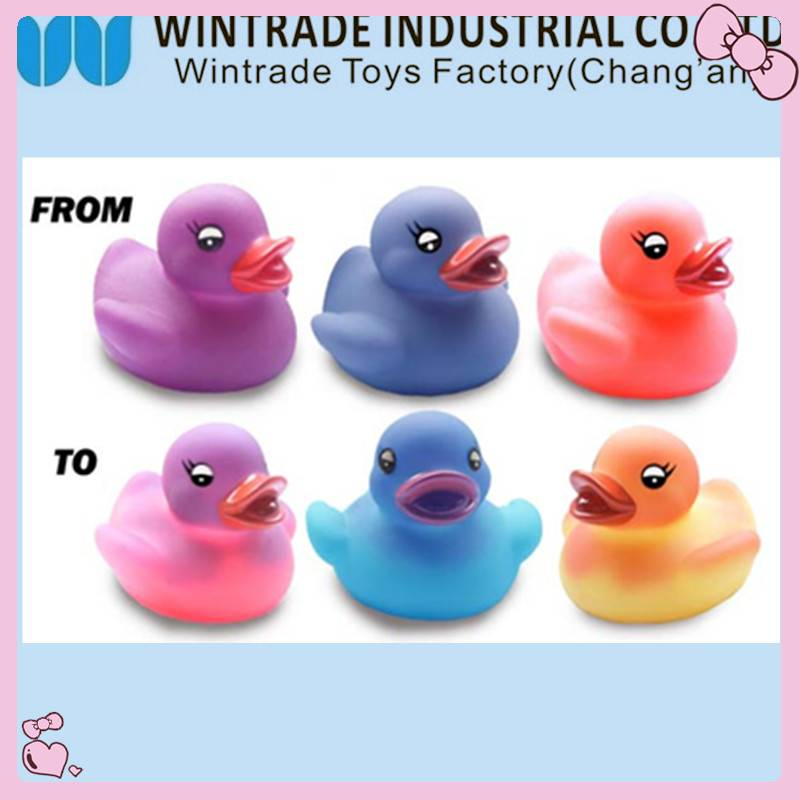 color changed rubber baby bath duck toy in hot water