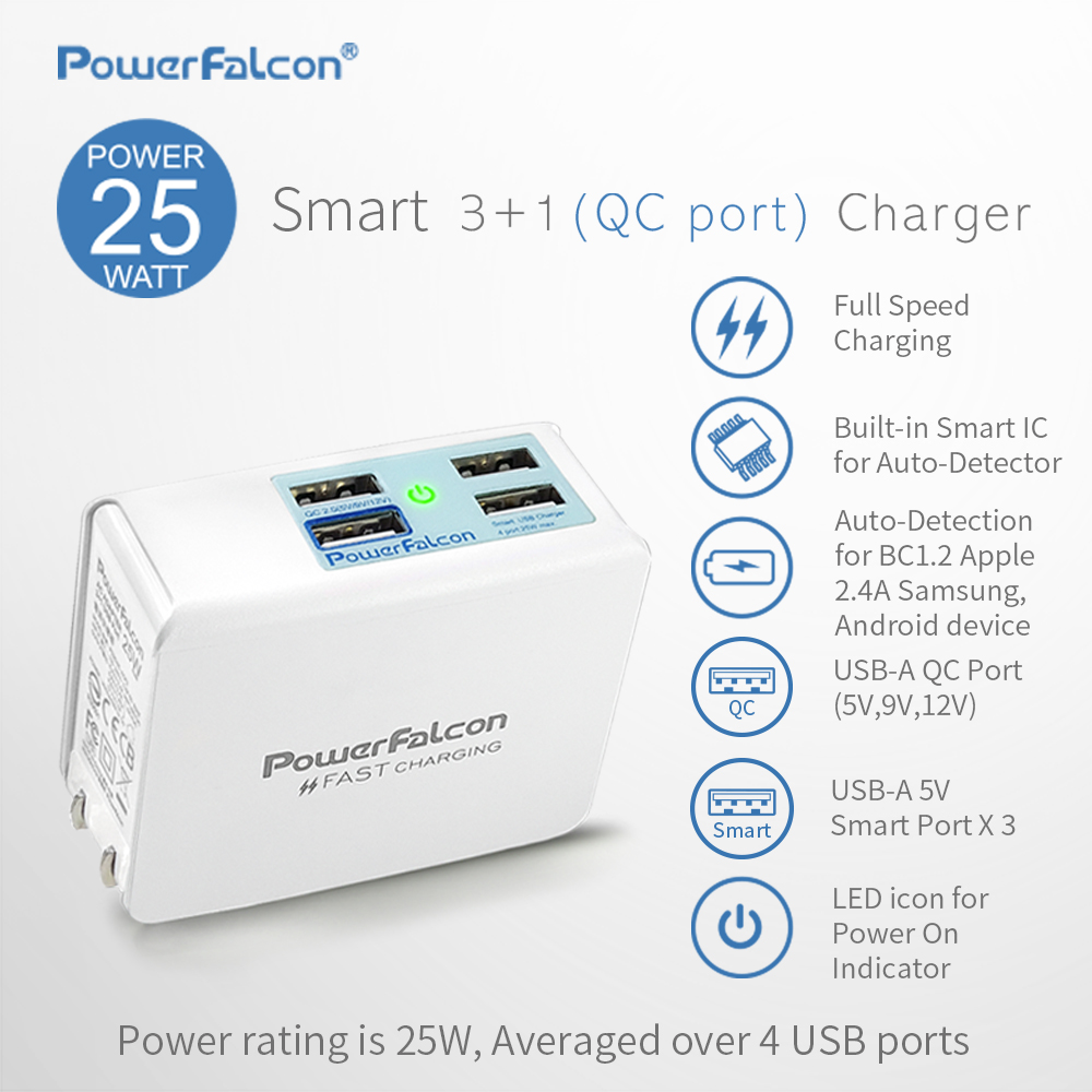 PowerFalcon 25W Smart 3+1(QC2.0) port Charger/Foldable