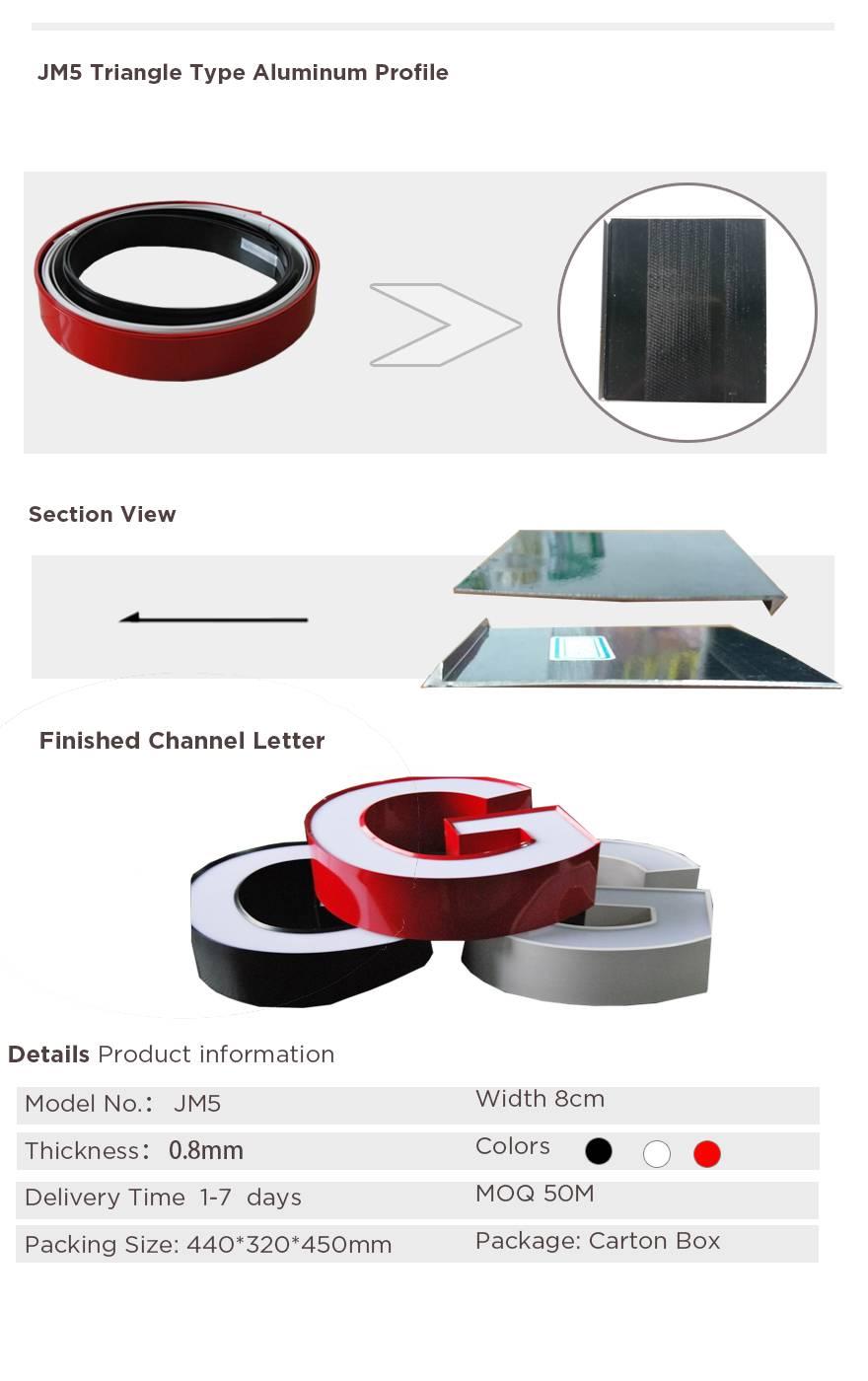 channel letter trim cap aluminum profile for channel letter making