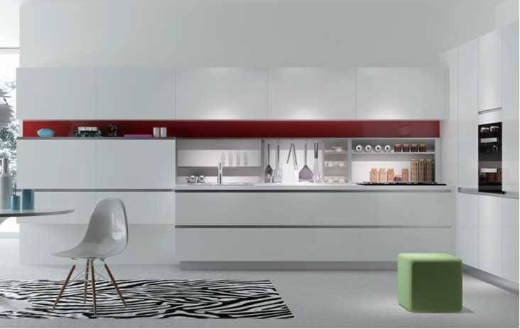 Serenade,White and Red Customized Kitchen Cabinet