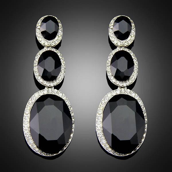 Wholesale New Fashion Trendy Hot Sale Rhinestone Crystal black dangle earrings for Women Girls Jewel