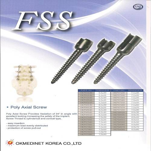 Pedicle Screw Spinal Fixation System FSS Screw System