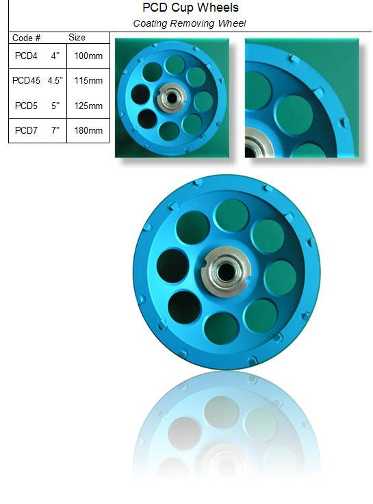 PCD Cup Wheel ( Coating Removing Wheel )