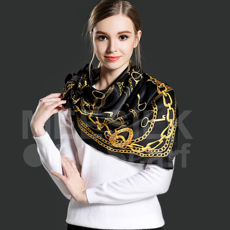 High Quality Elegant Anchor Square Scarf 100% Silk Scarves