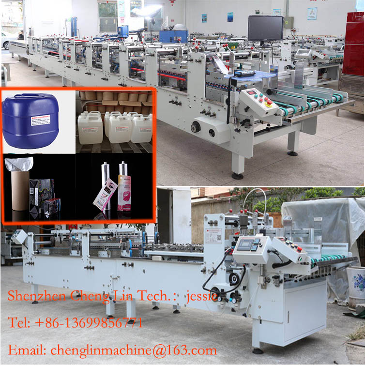 Shenzhen Cheng Lin PVC PET PP box folder gluer crash locking folding gluing machine