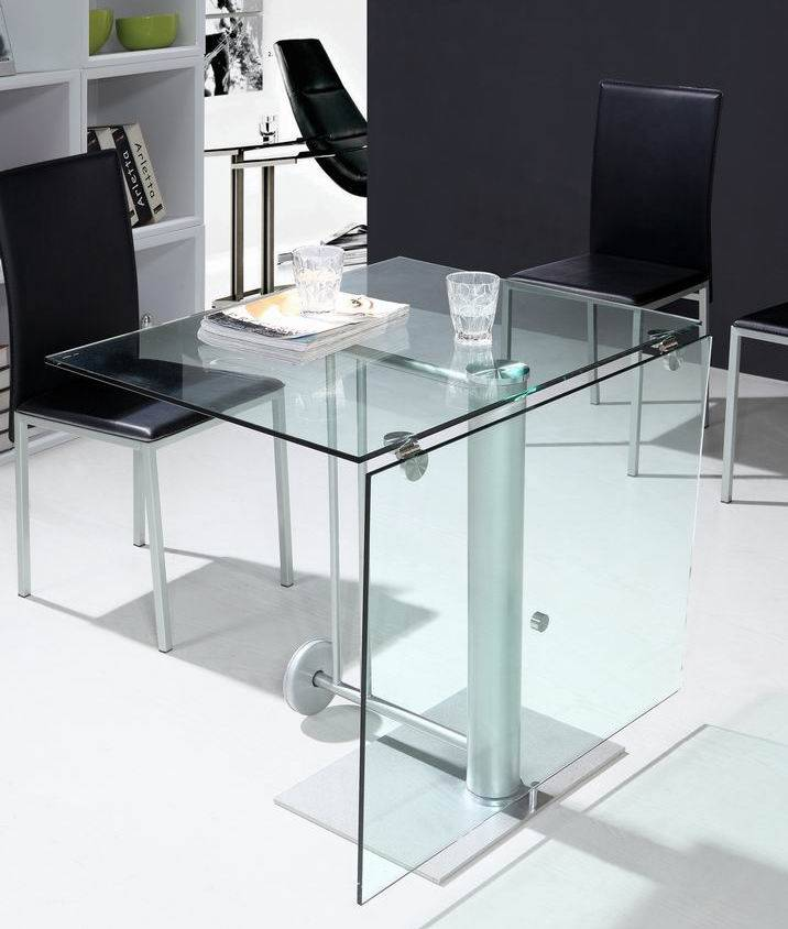 modern glass and metal folding table