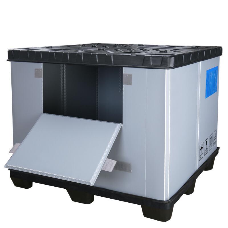 collapsible plastic pallet box for automotive parts