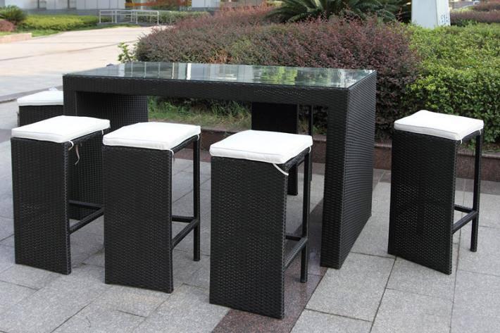 7pcs Rattan Wicker Bar Stool Dining Table Set
