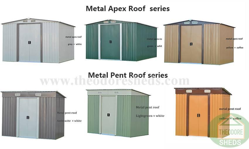 Theodore Sheds Company ST-AP/PE serise metal garden sheds