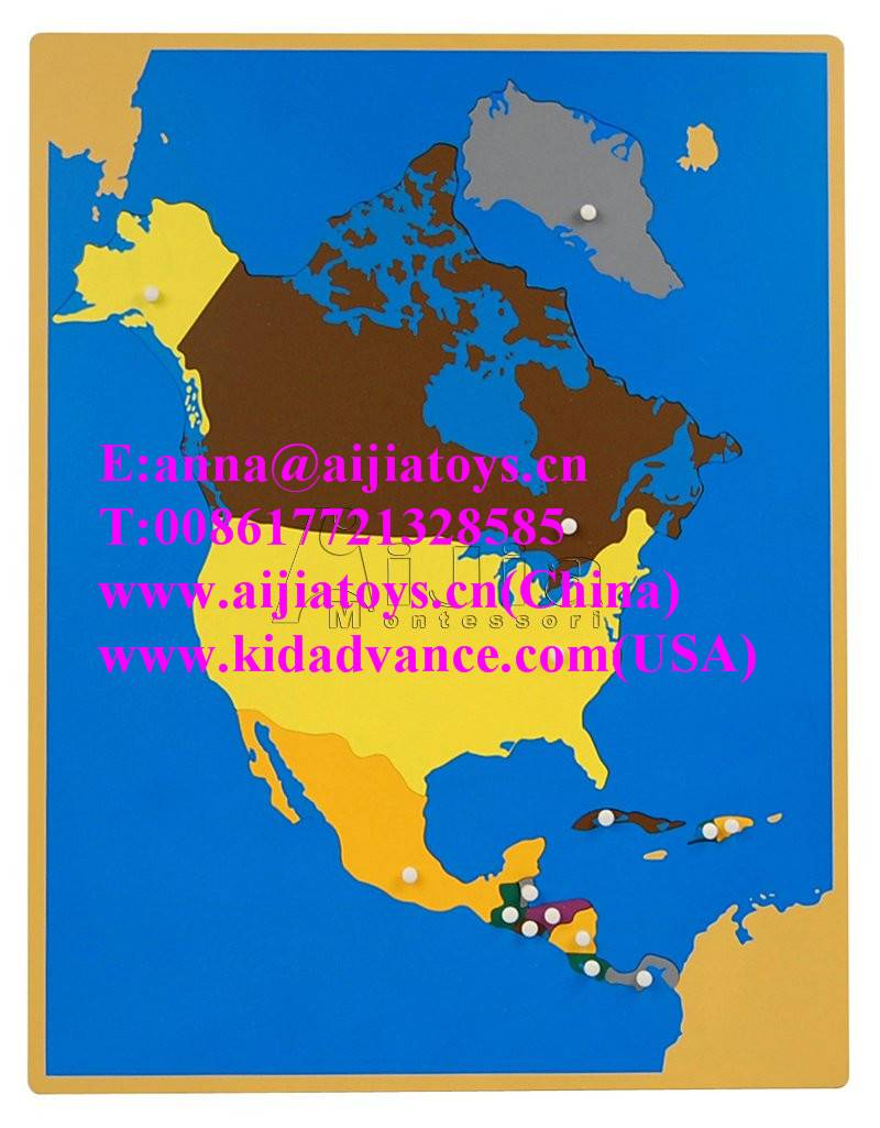 Montessori Puzzle Map of North America,montessori materials toys
