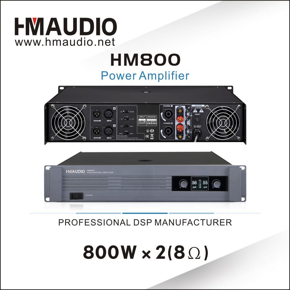 Conference room use professional power amplifier 800W HM800 with 2 Channels