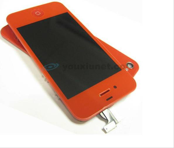 for iPhone 4 Red LCD Touch Screen Digitizer Assembly with Back Cover Home Key Conversion Kit